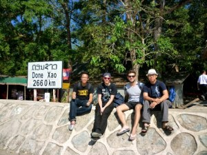 Richardo,Boris,Mattheus,and me in Don Xao, Laos