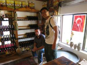 with the shop owner