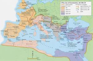 Wilayah Kekaisaran Romawi dalam pemerintahan Constantine courtesy of :http://www.utexas.edu/courses/romanciv/end%20and%20legacy/constantine%27s%20rise.jpg