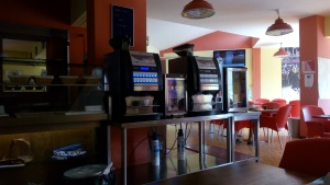 Coffee machine,juice machine,and all you can drink during breakfast :D