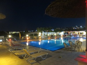 Santorini Hostel at night.