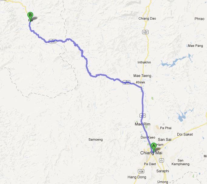 Rute Chiang Mai - Pai 134 km