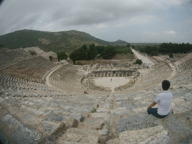 Inside the Great Theater of Ephesus enjoying some random chinese guy singing