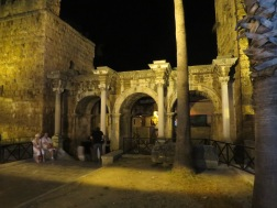 Hadrian's Gate at night