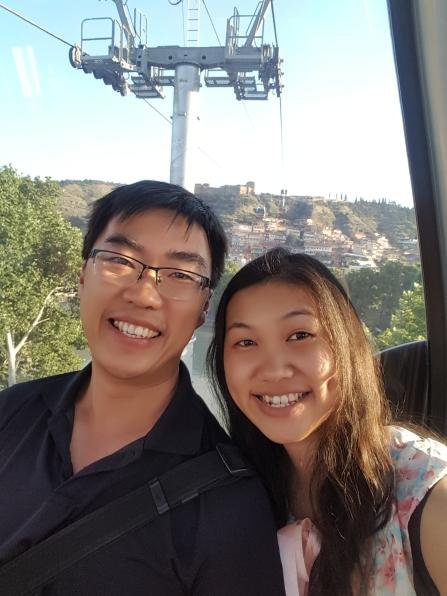 Selfie ringan di cable Car menuju Narikala