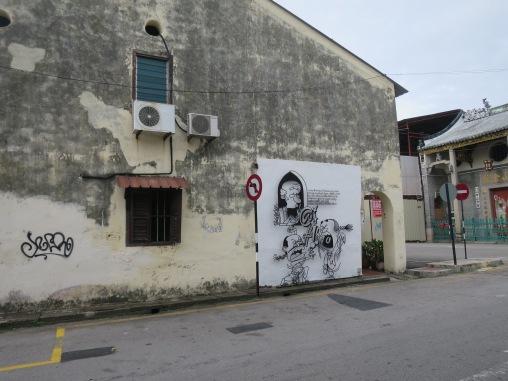 Sudut kota Georgetown dengan muralnya