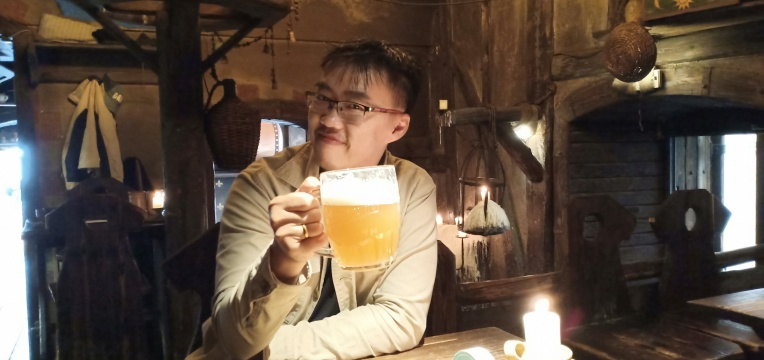 Enjoying a cold beer in a tavern